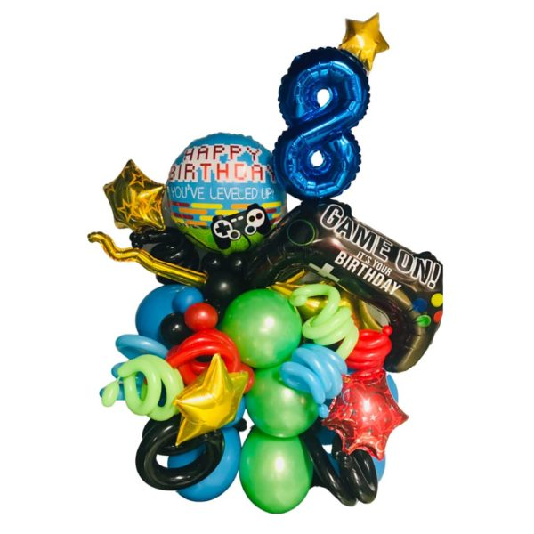 Multi Colored Gamer Birthday Balloon arrangement with game controller stars and age number in foil