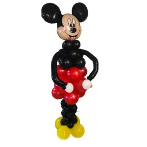 Red, Black and Yellow balloons formed into a 6.5 foot tower with Mickey Mouse Foil balloon on top!