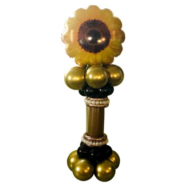 Gold and Black Balloon pedestal topped with a large foil sunflower