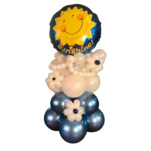 Blue and White table top balloon arrangement with sunshine foil on top
